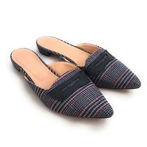 J. Crew Tweed Navy Plaid Slide Loafer Mules Sz 12